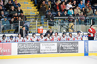 KELOWNA, CANADA, DECEMBER 7: Rich Preston, Head Coach and GM of the Lethbridge Hurricanes stands on the bench opposite the Kelowna Rockets on December 7, 2011 at Prospera Place in Kelowna, British Columbia, Canada (Photo by Marissa Baecker/Getty Images) *** Local Caption ***