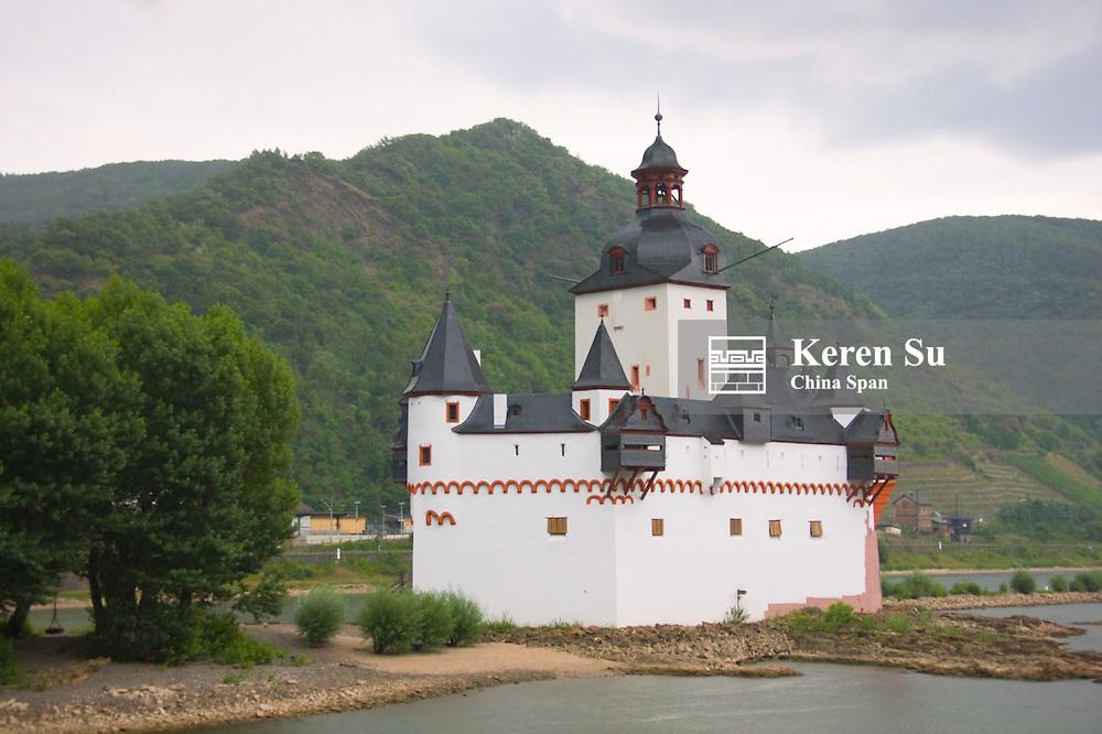 Die Pfalz in river Rhine, Upper Middle Rhine Valley (UNESCO World Heritage site),  Kaub, Germany