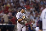 Alex Rodriguez makes a visit to the mound for some rosin after applying bug spray in Game 2 of the 2007 ALDS at Jacobs Field in Cleveland.