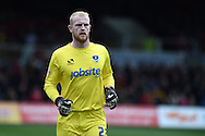 Portsmouth goalkeeper Aaron McCarey looks on.  .Skybet football league two match, Newport county v Portsmouth at Rodney Parade in Newport, South Wales  on Saturday 17th October 2015.<br /> pic by  Andrew Orchard, Andrew Orchard sports photography.