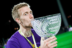 Robert Beric #32 of Maribor celebrate after winning the football match between NK Maribor and NK Celje in final of Slovenian Cup 2013 on May 29, 2013 in Stadium Bonifika, Koper, Slovenia. Maribor defeated Celje 1-0 and became Slovenian Cup Champion 2013. (Photo By Vid Ponikvar / Sportida)