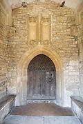 Doorway in porch of Wellow church, Somerset, England, UK