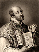 Ignatius Loyola, born Inigo Lopez de Recalde (1491-1556) Spanish soldier and, with St Francis Xavier (1506-1552) in 1534, one of the founders of the Society of Jesus, the Jesuits.  Engraving from 'The Gallery of Portraits' Vol. VII  by Charles Knight (London, 1837).