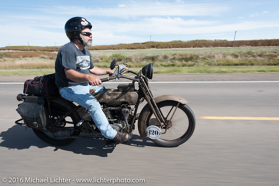 Dave Minerva riding his 1916 Harley-Davidson during the Motorcycle Cannonball Race of the Century. Stage-8 from Wichita, KS to Dodge City, KS. USA. Saturday September 17, 2016. Photography ©2016 Michael Lichter.