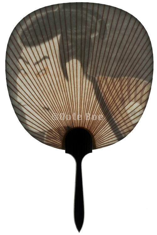 Japanese old style hand fan with male portrait caricature illustration