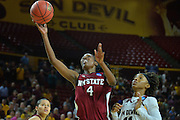 March 18, 2016; Tempe, Ariz;  New Mexico State Aggies guard Sasha Weber (4) drives to the basket during a game between No. 2 Arizona State Sun Devils and No. 15 New Mexico State Aggies in the first round of the 2016 NCAA Division I Women's Basketball Championship in Tempe, Ariz. The Sun Devils defeated the Aggies 74-52.