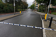 A closed Denmark Hill, closed to all traffic, weeks after the disastrous flooding in nearby Herne Hill, Denmark Hill was closed in both directions due to another burst water main in multiple locations across the road (A215) between the junctions of Champion Hill and Champion Park in south London. Water was seen running towards Kings College Hospital, 200 yards downhill and Denmark Hill is a major thoroughfare for the hospital's A+E.
