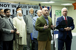 "© Licensed to London News Pictures. 08/04/2017. Birmingham, UK. Birmingham Mosque held a British tea party in answer to a EDL protesting taking part in the City on the same day. Pictured, M.P. LIAM BYRNE addresses the audience. The tea party was being described as ""The best of British"". Photo credit: Dave Warren/LNP"