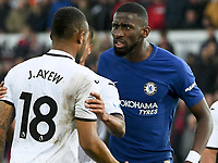 Football - 2017 / 2018 Premier League - Swansea City vs. Chelsea<br /> <br /> Antonio Rüdiger of Chelsea confronts Jordan Ayew of Swansea City, at the Liberty Stadium.<br /> <br /> <br /> COLORSPORT/WINSTON BYNORTH