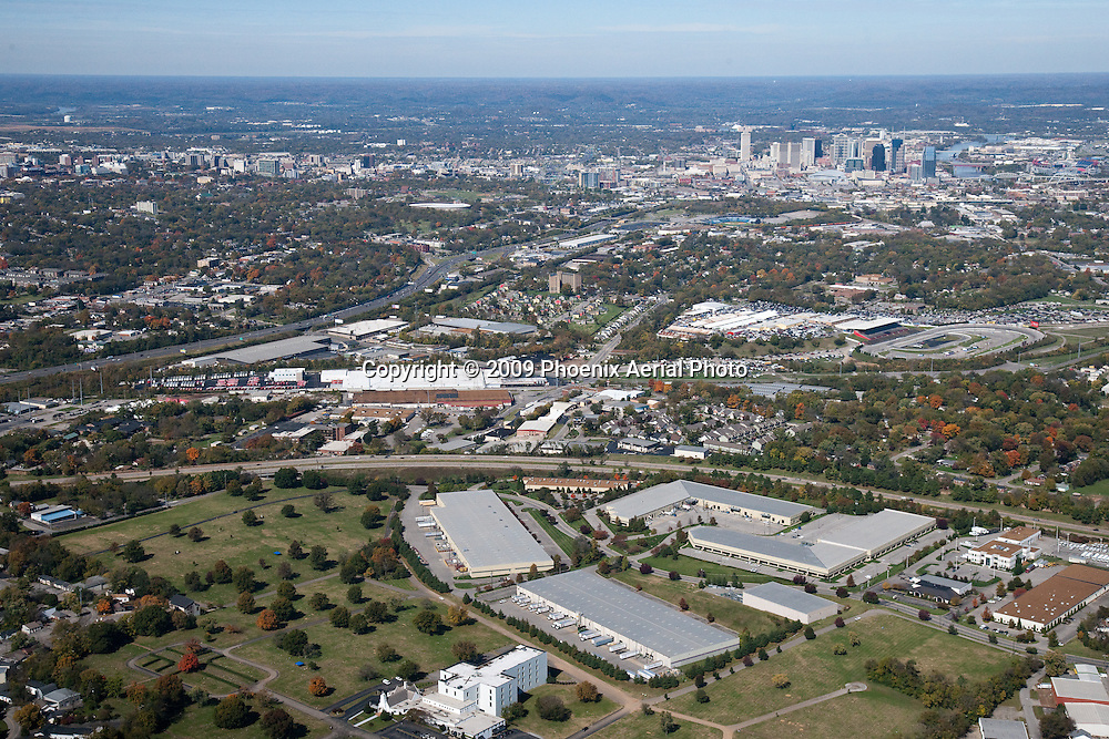 Aerial photo of Nashville Skyline with Woodlawn Funeral Home, I-440 Business Park and Melrose Avenue in the foreground.