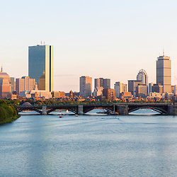 View of the Charles River and the skyline of the Back Bay from the parking garage at the Museum of Science in Boston, Massachusetts.