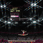 Kseniia Afanaseva, Russia, in action during the Women's Gymnastics Apparatus Beam final at North Greenwich Arena during the London 2012 Olympic games London, UK. 7th August 2012. Photo Tim Clayton