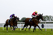 Songo ridden by Pat Dobbs trained by Milton Harris wins the Follow At The Races on Twitter Handicap (Div 1) - Mandatory by-line: Robbie Stephenson/JMP - 13/08/2020 - HORSE RACING - Bath Racecourse - Bath, England - Bath Races