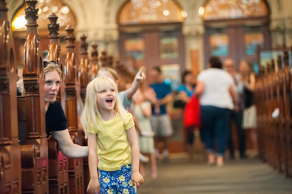 A young Boston Book Festival attendee at Old South Church.