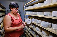 France, Pyrénées-Atlantiques (64), Pays Basque,  vallée des Aldudes, Céline Monaco productrice de fromages Ossau-Iraty // France, Pyrénées-Atlantiques (64), Basque Country, Aldudes valley, Céline Monaco, producer of Ossau-Iraty cheeses