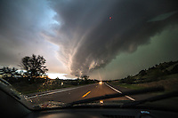 A photo out the windshield as I race a HP supercell to the south intersection near Lewellen, Nebraska, May 15, 2015.