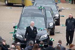 The funeral cortege leaving Celtic Park. The funeral of former footballer Tommy Gemmell.