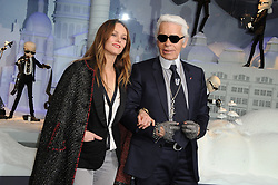 Vanessa Paradis and Karl Lagerfeld switching the Christmas lights at Le Printemps in Paris, France on November 9, 2011. Photo by Nicolas Briquet/ABACAPRESS.COM