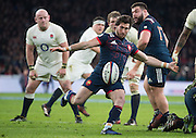 Twickenham, United Kingdom.  Maxine MACHENAUD, kicking clear from behind the scrum, during the  RBS. Six Nations : England   vs France  at the  RFU Stadium, Twickenham, England, <br /> <br /> Saturday  04/02/2017<br /> <br /> [Mandatory Credit; Peter Spurrier/Intersport-images]