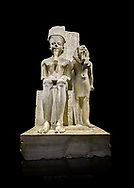 Ancient Egyptian statue of pharaoh Horemheb with god Amun, limestone, New Kingdom, 18th Dynasty, (1319-1292 BC). Egyptian Museum, Turin. black background.<br /> <br /> Horemheb stands beside the taller depiction of the god Amun. The statue is typical of the period following the religious and artistic revolution of King Akhenaten. The muscles are not emphasised and the contours are soft, with rounded hips and juvenile faces, the eyes are almond shaped and the cheeks and lips sensual. Some scholars believe this may have been a statue of Tutenkhamon remodelled by Horemheb. Dorvetti collection. C 768 .<br /> <br /> If you prefer to buy from our ALAMY PHOTO LIBRARY  Collection visit : https://www.alamy.com/portfolio/paul-williams-funkystock/ancient-egyptian-art-artefacts.html  . Type -   Turin   - into the LOWER SEARCH WITHIN GALLERY box. Refine search by adding background colour, subject etc<br /> <br /> Visit our ANCIENT WORLD PHOTO COLLECTIONS for more photos to download or buy as wall art prints https://funkystock.photoshelter.com/gallery-collection/Ancient-World-Art-Antiquities-Historic-Sites-Pictures-Images-of/C00006u26yqSkDOM