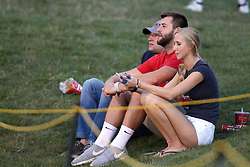 03 September 2016:  Redbird fans sit on the south hill. NCAA FCS Football game between Valparaiso Crusaders and Illinois State Redbirds at Hancock Stadium in Normal IL (Photo by Alan Look)