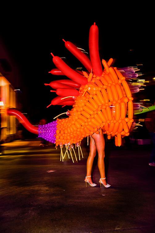 BOn Miami Beach's Lincoln Road: a balloon costume designed by artist Jason Hackenwerth at Art Basel Miami Beach 2006