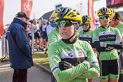 Shelley Olds braves the cold as she waits for Cylance to be called to the stage - 2016 Omloop van het Hageland - Tielt-Winge, a 129km road race starting and finishing in Tielt-Winge, on February 28, 2016 in Vlaams-Brabant, Belgium.