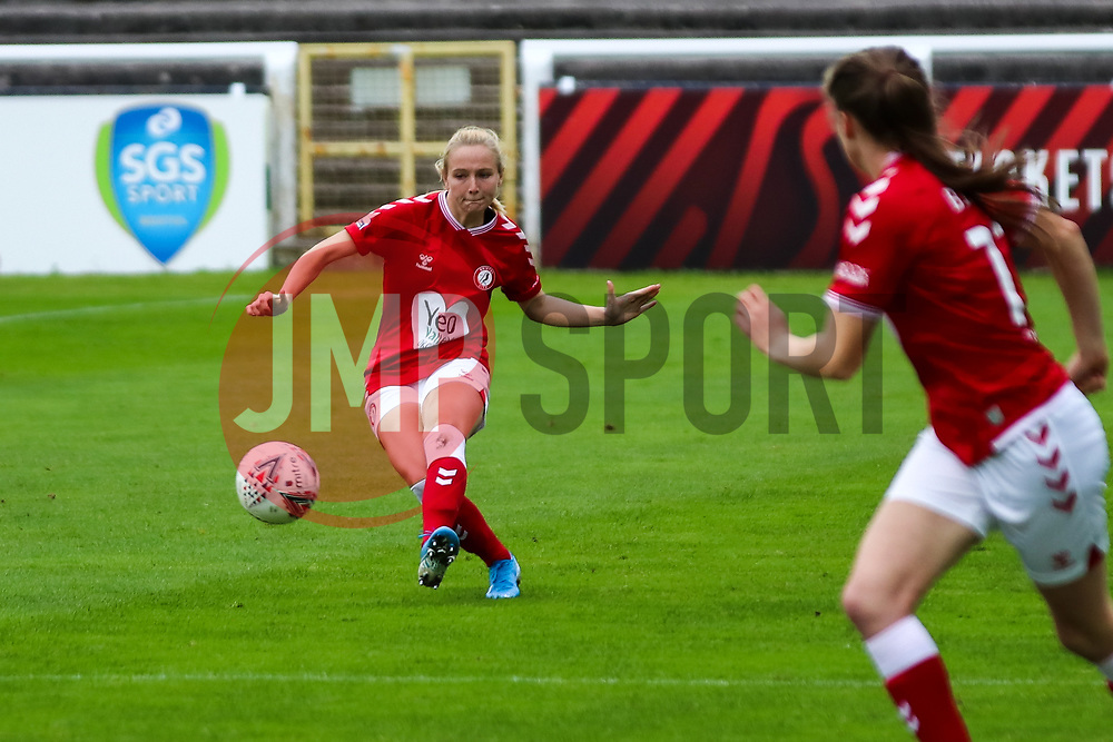 Jemma Purfield of Bristol City Women passes the ball- Mandatory by-line: Will Cooper/JMP - 18/10/2020 - FOOTBALL - Twerton Park - Bath, England - Bristol City Women v Birmingham City Women - Barclays FA Women's Super League