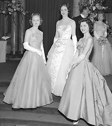 Left to right, KIRSTINE STOCKWELL, PENNY RICHES and TESSA PRAIN at the Lowson Debutante party atthe Savoy Hotel, London on 12th May 1958.