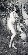Surprise by Axilette [Naked woman surprised in the forest] from Le Nu au Salon 1893 A collection of Nude photography published in Paris in 1908 by Societe nationale des beaux-arts (France). et Societe des artistes francais. Catalogues of nudes exhibited at the official Paris Salons. Risqué photography is material that is slightly indecent or liable to shock, especially as sexually suggestive.