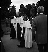 Funeral of Eamon DeValera.   (J72)..1975..02.09.1975..09.02.1975..2nd September 1975..Today saw the funeral of Eamon DeValera. He was laid to rest beside his wife Sinead in Glasnevin Cemetery,Dublin. Dignitries from all around the world attended at the funeral...Image of members of the religious who attended at the funeral of Eamon DeValera.