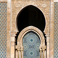 North Africa, Morocco, Casablanca. Hassan II Mosque fountain
