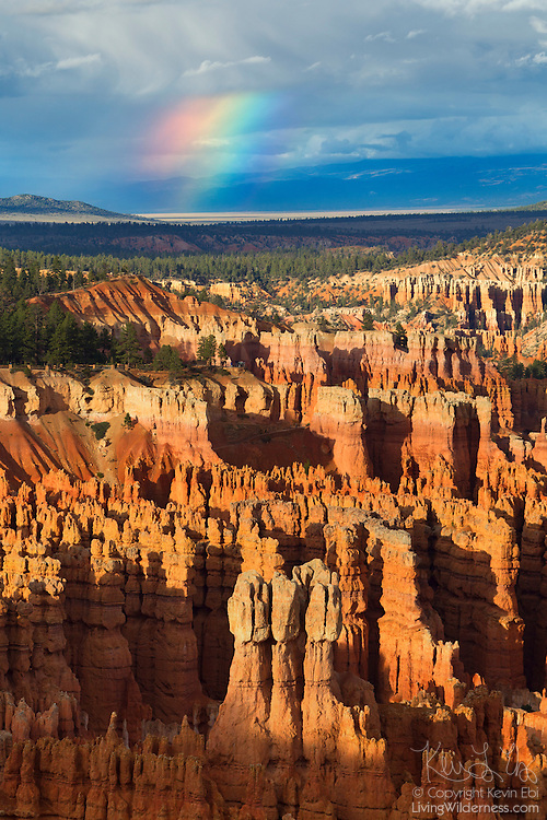 Part of a rainbow shines after a rainstorm passes over Bryce Canyon National Park in Utah.