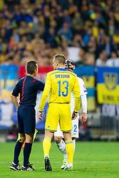 Referee with Vyacheslav Shevchuk (UKR) and Miso Brecko (SLO) during the UEFA EURO 2016 Play-off for Final Tournament, Second leg between Slovenia and Ukraine, on November 17, 2015 in Stadium Ljudski vrt, Maribor, Slovenia. Photo by Urban Urbanc / Sportida