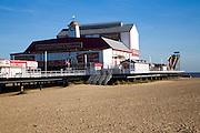 Britannia pier theatre and sandy beach in winter, Great Yarmouth, Norfolk, England