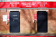 Ground shot of shut turnstile doors due to Covid 19 restrictions not letting the public/ supporters attend matches during the EFL Sky Bet League 2 match between Stevenage and Bradford City at the Lamex Stadium, Stevenage, England on 5 April 2021.