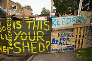 A barricade built by housing activists close to the home of Mostafa Aliverdipour, the last surviving resident of the Sweets Way housing estate, to facilitate eviction resistance on 23rd September 2015 in London, United Kingdom. A group of housing activists calling for better social housing provision in London had occupied some of the properties on the 142-home estate in Whetstone, in some cases refurbishing properties intentionally destroyed by the legal owners following eviction of the original residents, in order to try to prevent or delay the eviction of Mr Aliverdipour and the planned demolition and redevelopment of the entire estate by Barnet Council and Annington Property Ltd.