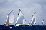 Sweetheart, a Carriacou Sloop, sailing in the Windward Race at the Antigua Classic Yacht Regatta.