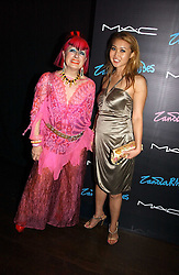 Left to right, ZANDRA RHODES and YUKI OSHIMA-WILPON at a party to celebrate Zandra Rhodes's return to London Fashion week and the launch of a limited edition of M.A.C makeup at Silver, 17 Hanover Square, London W1 on 20th September 2006.<br /><br />NON EXCLUSIVE - WORLD RIGHTS