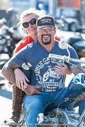 Erin and Billy Lane at the start of the Aidan has a Posse ride out from the Buffalo Chip Crossroads during the 78th annual Sturgis Motorcycle Rally. Sturgis, SD. USA. Tuesday August 7, 2018. Photography ©2018 Michael Lichter.