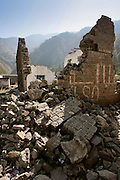 Buildings demolished in earthquake area of Azad Jammu Kashmir, village of Pattika, Pakistan
