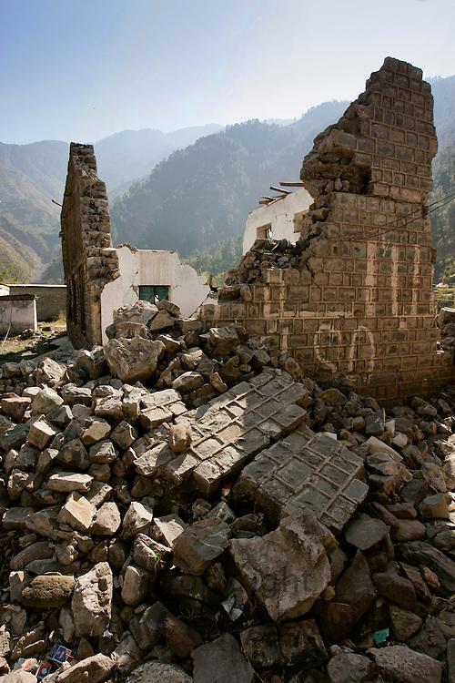 Buildings demolished in earthquake area of Azad Jammu Kashmir, village of Pattika, Pakistan