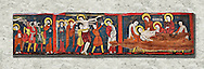 Romanesque painted Beam depicting The Passion and the Stations of the Cross<br /> <br /> Around 1192-1220, Tempera on wood from Catalonia, Spain.<br /> <br /> Acquisition of Museums Board's campaign in 1907. MNAC 15833.<br /> <br /> It is not known what was the original location of the beam, but it might have been part of the structure of a canopy. In any case, it was reused in a ceiling, as evidenced by the cuts that are at the top. It is decorated with seven scenes from the Passion and Resurrection of Christ, this scene shows Christ being taken dwon fron the Cross and laid in a tomb. The narrative character in the images and the predominance of yellow is typical of Catalan painting of the 1200's,  specifically with illustrations of Liber Feudorum Maior, a late twelfth-century illuminated cartulary book style of the Crown of Aragon .<br /> <br /> If you prefer you can also buy from our ALAMY PHOTO LIBRARY  Collection visit : https://www.alamy.com/portfolio/paul-williams-funkystock/romanesque-art-antiquities.html<br /> Type -     MNAC     - into the LOWER SEARCH WITHIN GALLERY box. Refine search by adding background colour, place, subject etc<br /> <br /> Visit our ROMANESQUE ART PHOTO COLLECTION for more   photos  to download or buy as prints https://funkystock.photoshelter.com/gallery-collection/Medieval-Romanesque-Art-Antiquities-Historic-Sites-Pictures-Images-of/C0000uYGQT94tY_Y