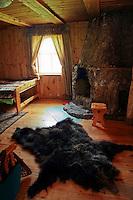 Bearskin Rug at Siberian Cottage at Lake Baikal
