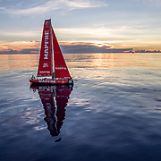Leg 4, Melbourne to Hong Kong, day 08 on board MAPFRE, Sunset without wind, dongfeng in the background. Photo by Ugo Fonolla/Volvo Ocean Race. 09 January, 2018.
