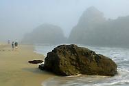 People walking on sand next to coastal rocks in fog at Pfeiffer Beach, Big Sur Coast, Monterey County, California