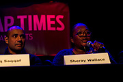 "Meadowood neighborhood activist, Sheray Wallace, right, makes a point during the panel discussion: ""How can Madison build more great neighborhoods?"" at High Noon Saloon in Madison, Tuesday, November 7, 2017."
