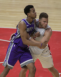 October 12, 2017 - Los Angeles, California, U.S - Blake Griffin #32 of the Los Angeles Clippers battles with Skal Labissiere #7 of the Sacramento Kings during their preseason game on Thursday October 12, 2017 at the Galen Center in USC in Los Angeles, California. Clippers defeat Kings, 104-87. (Credit Image: © Prensa Internacional via ZUMA Wire)