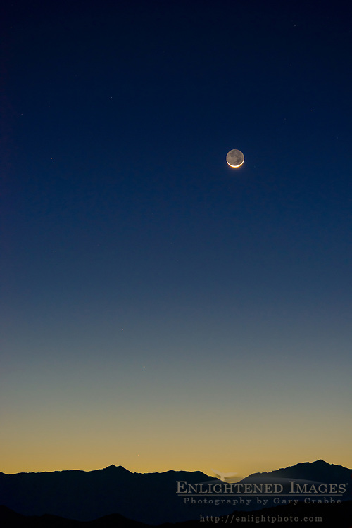 Earthshine and crescent moon, Death Valley National Park, California - named one of the best nighttime sky parks in the US.