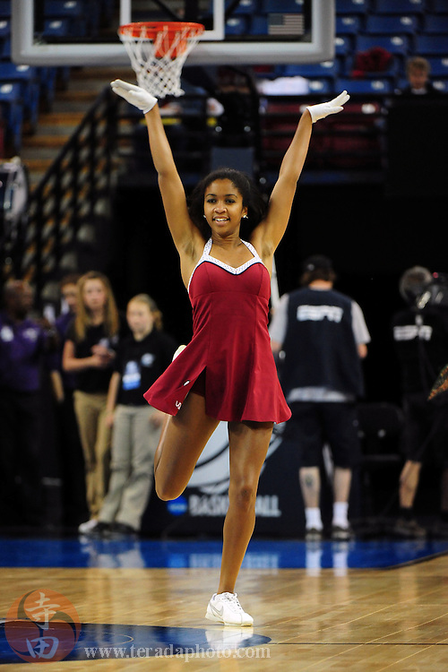 March 29, 2010; Sacramento, CA, USA; 2009-2010 Stanford Cardinal Dollies member Nia Minor (class of 2012) performs during the 2010 NCAA Division I Women's Basketball Sacramento Regional Elite Eight game against the Xavier Musketeers at Arco Arena. The Cardinal defeated the Musketeers 55-53. Mandatory Credit: Kyle Terada-Terada Photo